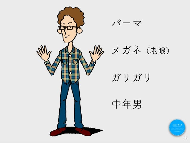 5 中年男 パーマ メガネ(老眼) ガリガリ
