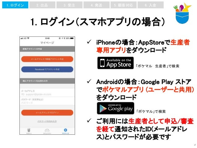 1. ログイン(スマホアプリの場合) 4  iPhoneの場合:AppStoreで生産者 専用アプリをダウンロード  Androidの場合:Google Play ストア でポケマルアプリ (ユーザーと共用) をダウンロード  ご利用には...