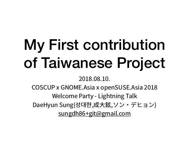 My First contribution of Taiwanese Project