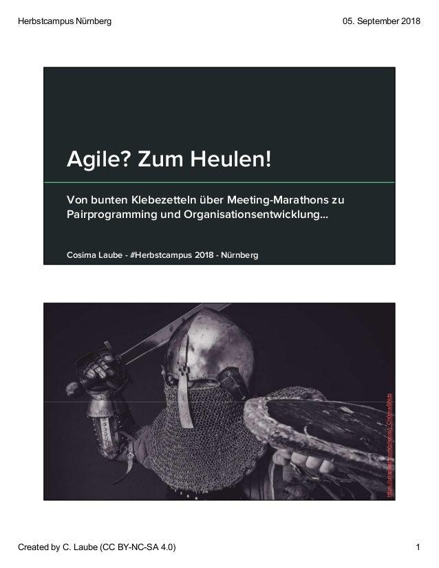 Herbstcampus Nürnberg 05. September 2018 Created by C. Laube (CC BY-NC-SA 4.0) 1 Agile? Zum Heulen! Von bunten Klebezettel...