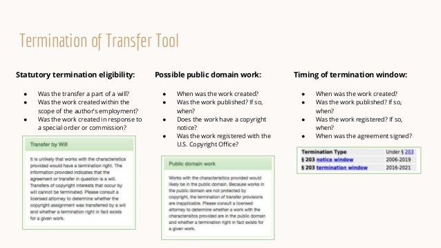 Timing of termination window: ● When was the work created? ● Was the work published? If so, when? ● Was the work registere...