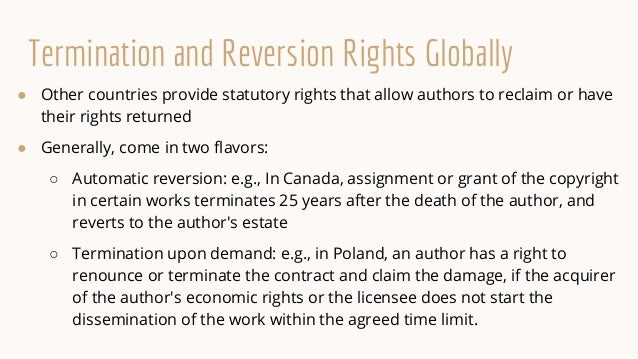 What's the Rights Back Resource? ● Searchable database of termination and reversionary rights in other countries ● Aggrega...