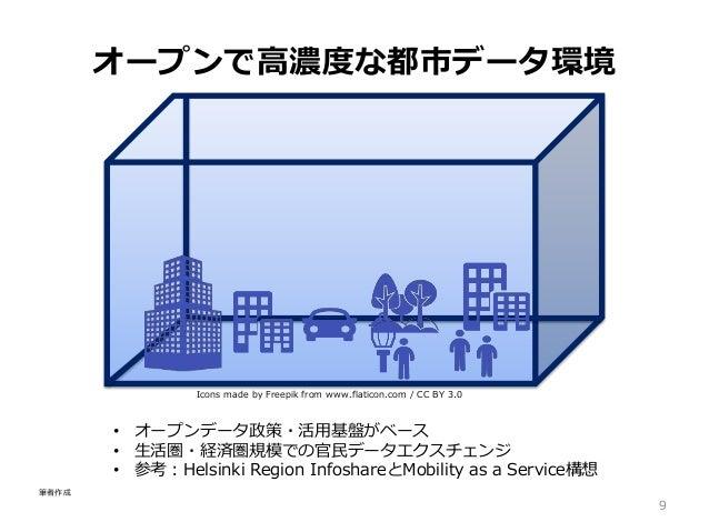 Icons made by Freepik from www.flaticon.com / CC BY 3.0 オープンで高濃度な都市データ環境 9 • オープンデータ政策・活用基盤がベース • 生活圏・経済圏規模での官民データエクスチェンジ ...