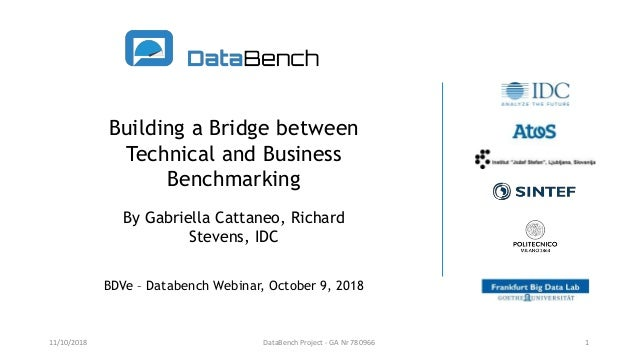 Building a Bridge between Technical and Business Benchmarking By Gabriella Cattaneo, Richard Stevens, IDC BDVe – Databench...