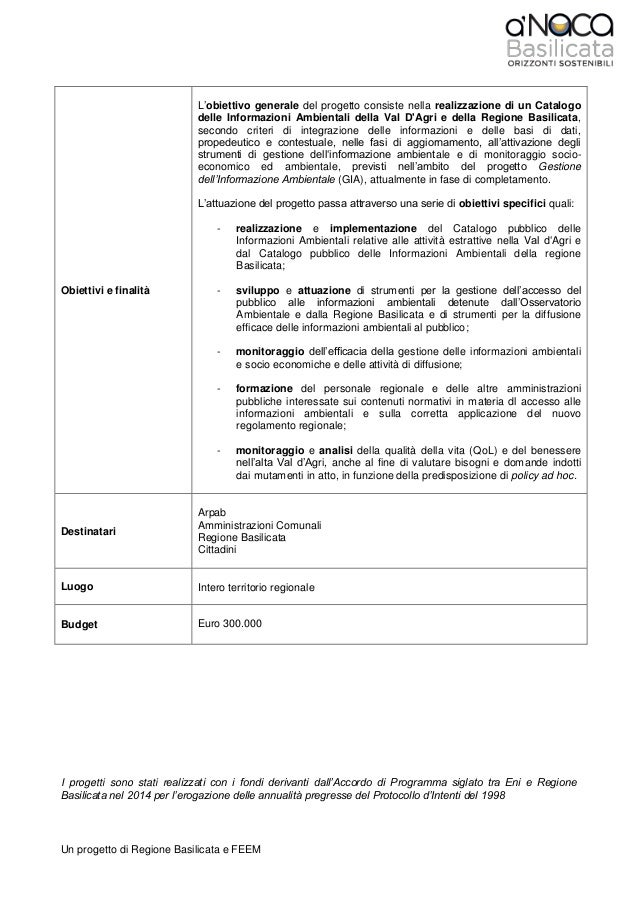 Scheda progetto 2.2 Ctalogo Osservatorio Ambientale Regionale_sito Slide 2