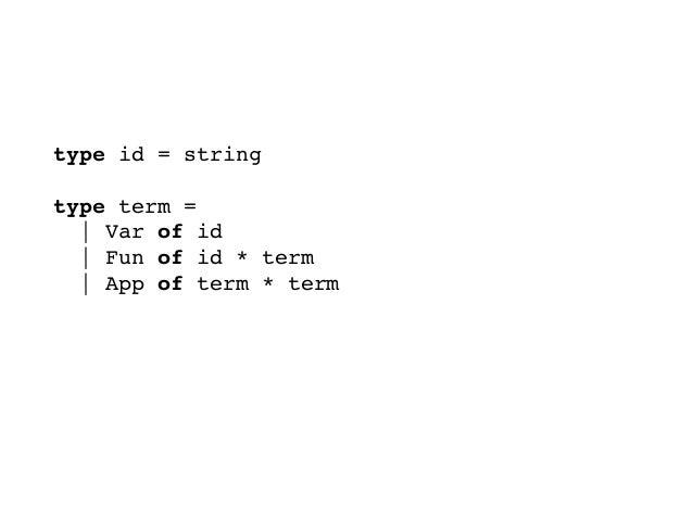 λ項のデータ型を定義しよう type id = string  type term =   Var of id   Fun of id * term   App of term * term