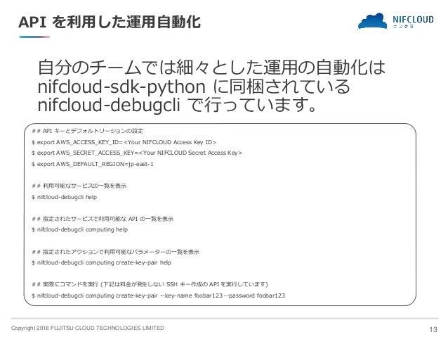 Copyright 2018 FUJITSU CLOUD TECHNOLOGIES LIMITED API を利用した運用自動化 自分のチームでは細々とした運用の自動化は nifcloud-sdk-python に同梱されている nifclou...