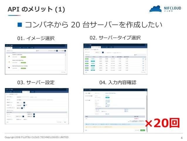 Copyright 2018 FUJITSU CLOUD TECHNOLOGIES LIMITED API のメリット (1) ◼ コンパネから 20 台サーバーを作成したい 4 01. イメージ選択 02. サーバータイプ選択 03. サーバ...