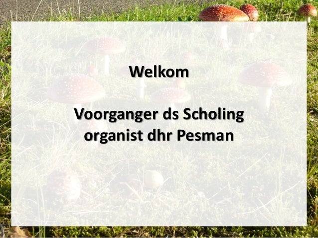 Welkom Voorganger ds Scholing organist dhr Pesman