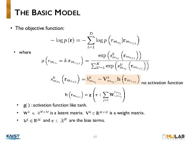 • The objective function: • where • g( ) : activation function like tanh. • is a latent matrix. is a weight matrix. • and ...