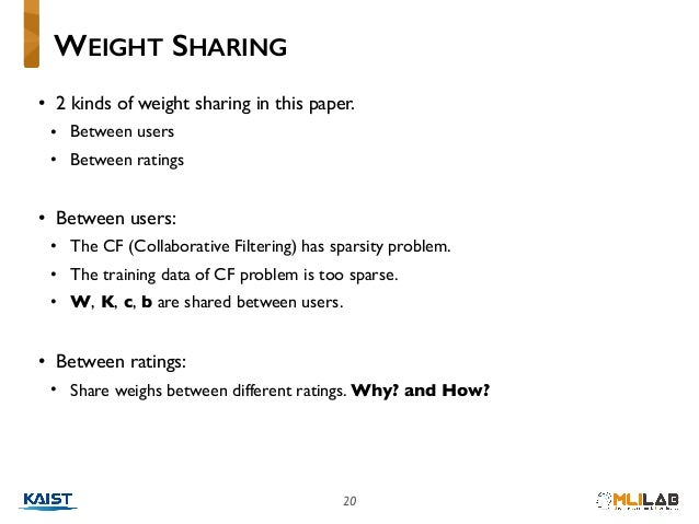 20 • 2 kinds of weight sharing in this paper. • Between users • Between ratings • Between users: • The CF (Collaborative F...
