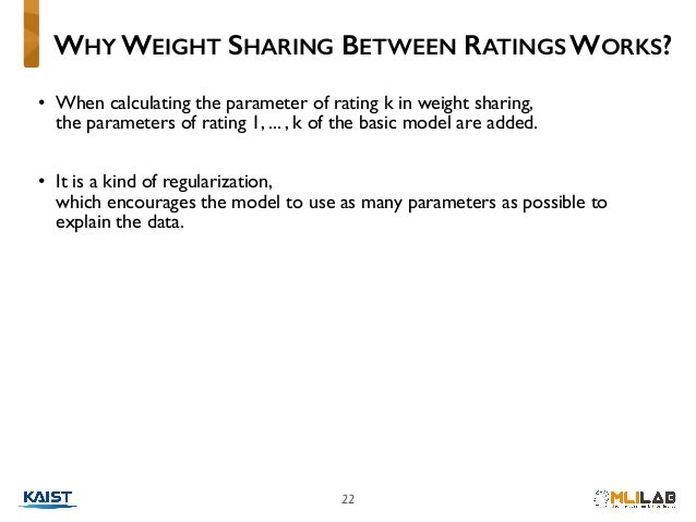 22 • When calculating the parameter of rating k in weight sharing,  the parameters of rating 1, ... , k of the basic mode...