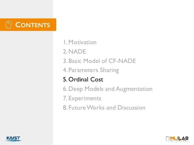 CONTENTS 1. Motivation 2. NADE 3. Basic Model of CF-NADE 4. Parameters Sharing 5. Ordinal Cost 6. Deep Models and Augmenta...