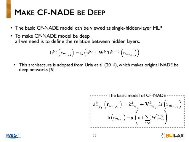 29 • The basic CF-NADE model can be viewed as single-hidden-layer MLP. • To make CF-NADE model be deep, all we need is to...