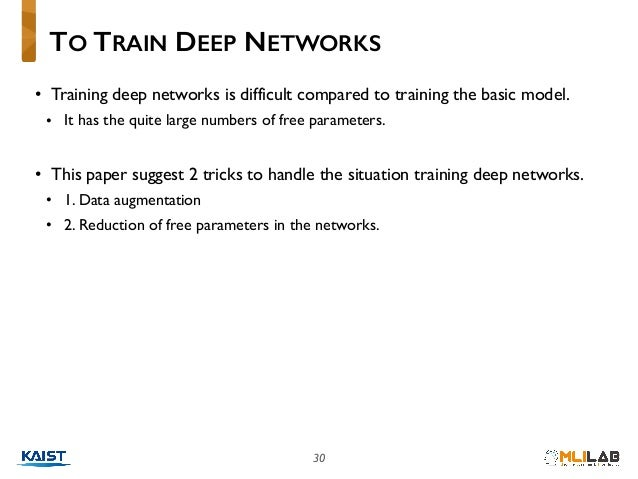 30 • Training deep networks is difficult compared to training the basic model. • It has the quite large numbers of free pa...
