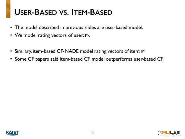 35 • The model described in previous slides are user-based model. • We model rating vectors of user: ru. • Similary, item-...
