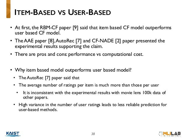 38 • At first, the RBM-CF paper [9] said that item based CF model outperforms user based CF model. • The AAE paper [8],Aut...