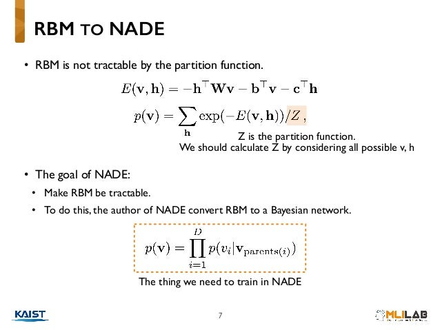 7 • RBM is not tractable by the partition function. • The goal of NADE: • Make RBM be tractable. • To do this, the author ...