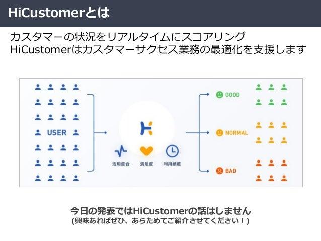 HiCustomerとは カスタマーの状況をリアルタイムにスコアリング HiCustomerはカスタマーサクセス業務の最適化を支援します 今日の発表ではHiCustomerの話はしません (興味あればぜひ、あらためてご紹介させてください!)