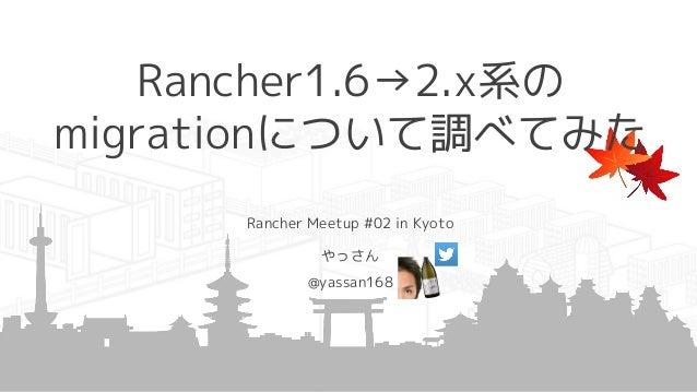Rancher1.6→2.x系の migrationについて調べてみた Rancher Meetup #02 in Kyoto やっさん @yassan168