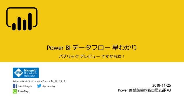 Microsoft MVP - Data Platform / かがたたけし PowerBIxyz takeshi.kagata @powerbixyz Power BI データフロー 早わかり パブリック プレビュー ですからね! 2018-...