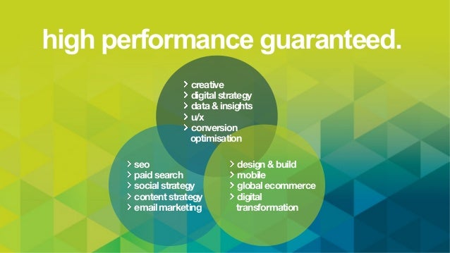 high performance guaranteed. seo paid search social strategy content strategy email marketing design & build mobile global...