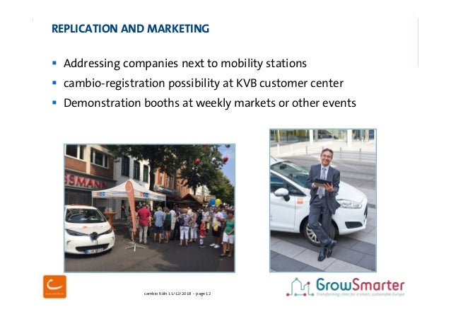 cambio Köln 11/12/2018 - page 12  Addressing companies next to mobility stations  cambio-registration possibility at KVB...