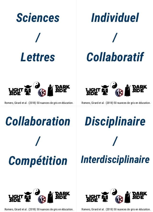 Sciences / Lettres Individuel / Collaboratif Collaboration / Compétition Disciplinaire / Interdisciplinaire Romero, Girard...