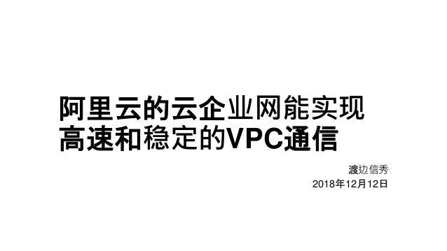 阿里云的云企业网能实现 高速和稳定的VPC通信 渡边信秀 2018年12月12日