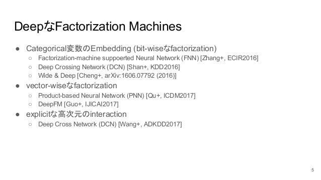 DeepなFactorization Machines ● Categorical変数のEmbedding (bit-wiseなfactorization) ○ Factorization-machine suppoerted Neural N...