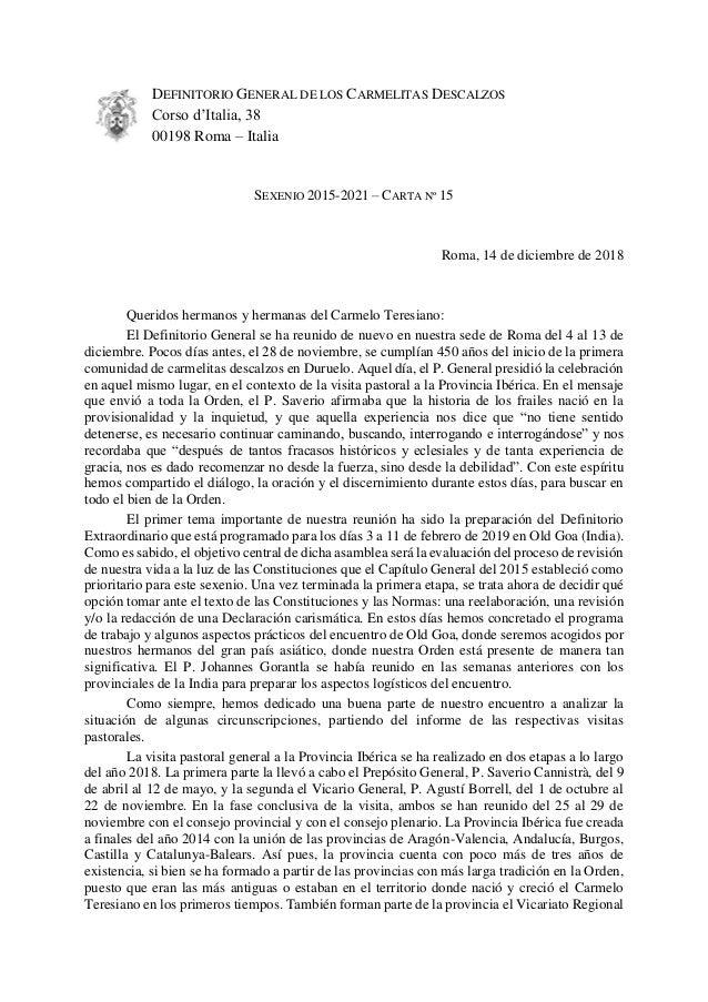 DEFINITORIO GENERAL DE LOS CARMELITAS DESCALZOS Corso d'Italia, 38 00198 Roma – Italia SEXENIO 2015-2021 – CARTA Nº 15 Rom...