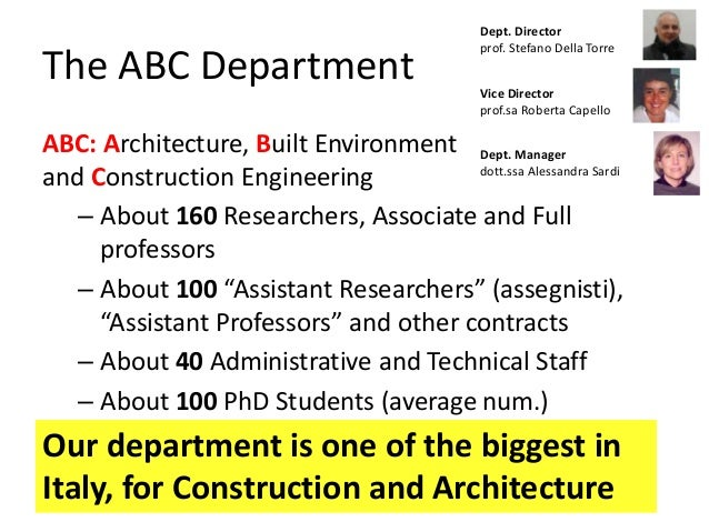 The ABC Department ABC: Architecture, Built Environment and Construction Engineering – About 160 Researchers, Associate an...