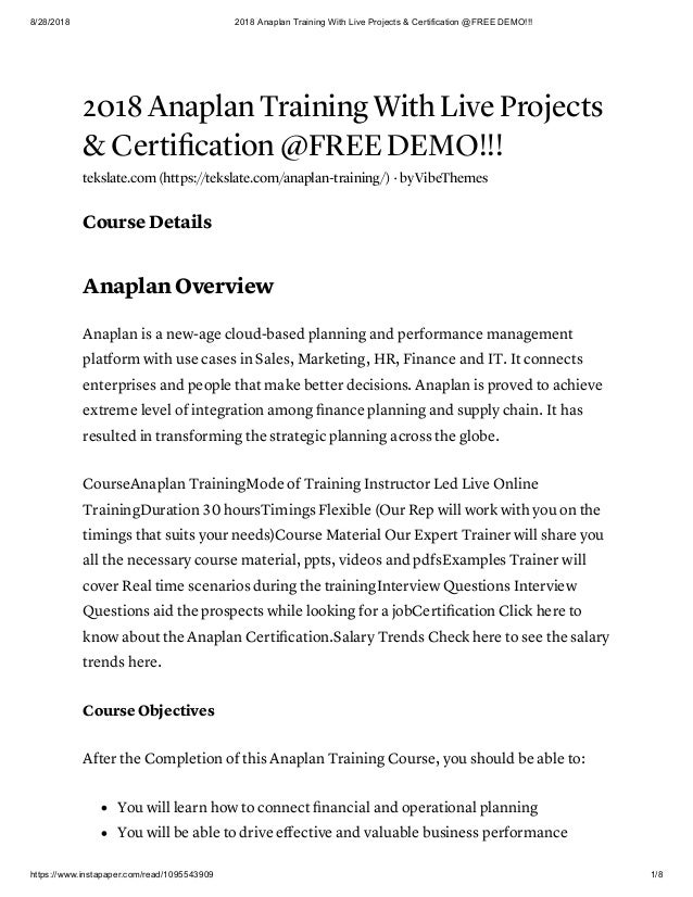 2018 Anaplan Training With Live Projects Amp Certification Free De