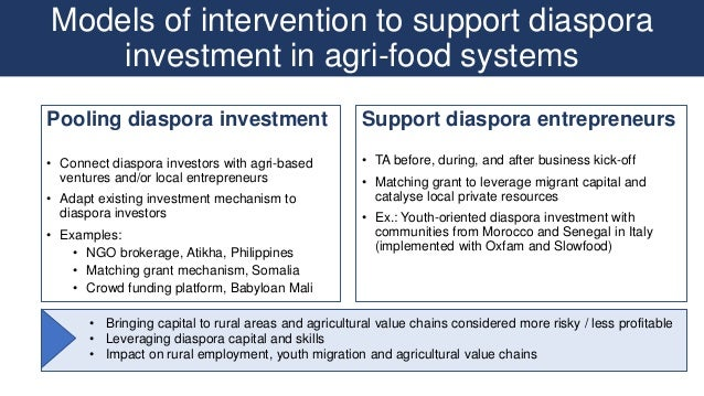 Models of intervention to support diaspora investment in agri-food systems Pooling diaspora investment • Connect diaspora ...
