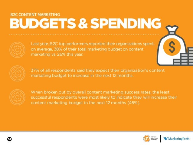 34 BUDGETS&SPENDING B2C CONTENT MARKETING Last year, B2C top performers reported their organizations spent, on average, 38...