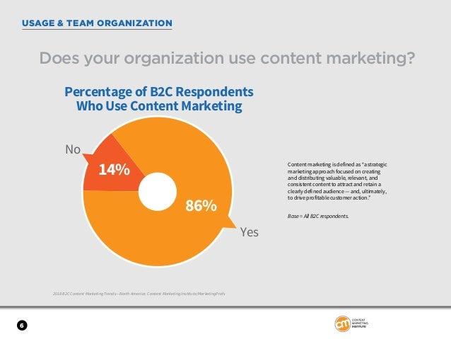 6 USAGE & TEAM ORGANIZATION 2018 B2C Content Marketing Trends—North America: Content Marketing Institute/MarketingProfs Do...