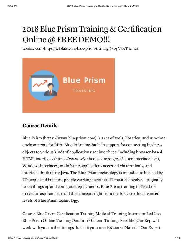2018 blue prism training & certification online @ free demo!!!