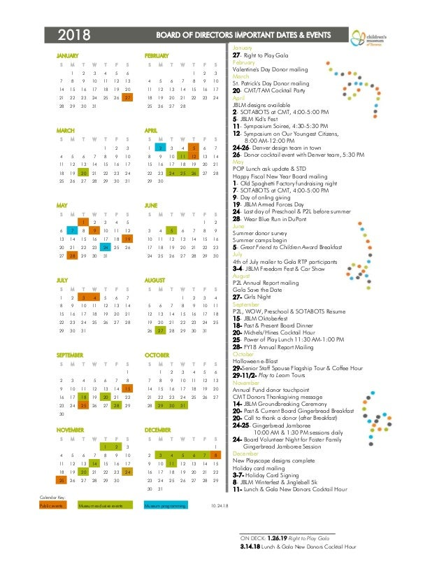 BOARD OF DIRECTORS IMPORTANT DATES & EVENTS JANUARY FEBRUARY S M T W T F S S M T W T F S 1 2 3 4 5 6 1 2 3 7 8 9 10 11 12 ...