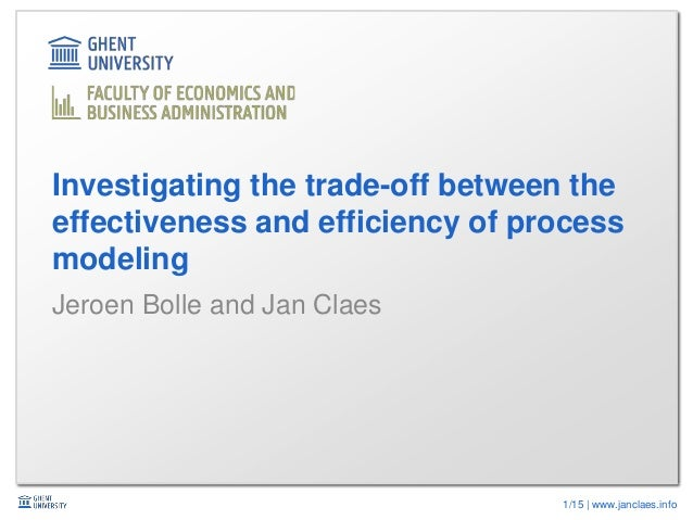 1/15 | www.janclaes.info Jeroen Bolle and Jan Claes Investigating the trade-off between the effectiveness and efficiency o...