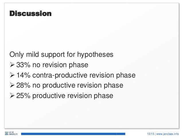 13/15   www.janclaes.info Discussion Only mild support for hypotheses  33% no revision phase  14% contra-productive revi...