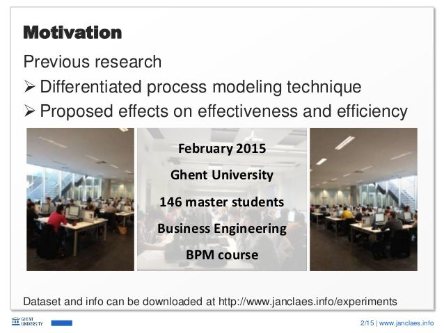 2/15   www.janclaes.info Motivation Previous research  Differentiated process modeling technique  Proposed effects on ef...