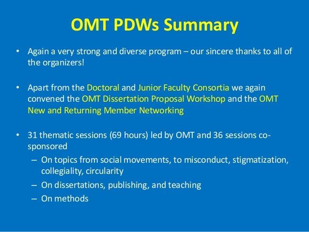 omt dissertation proposal workshop