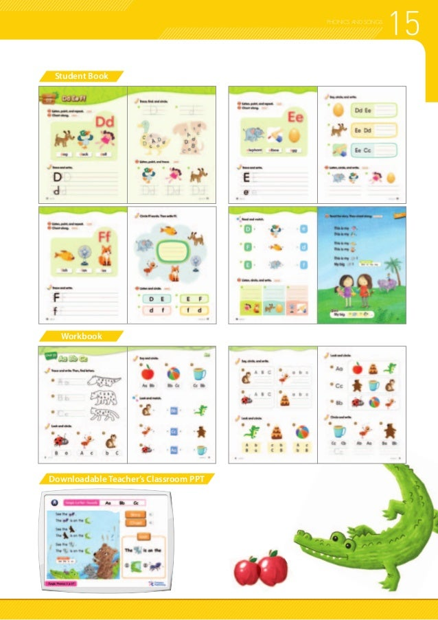 15PHONICS AND SONGS Student Book Workbook Downloadable Teacher's Classroom PPT