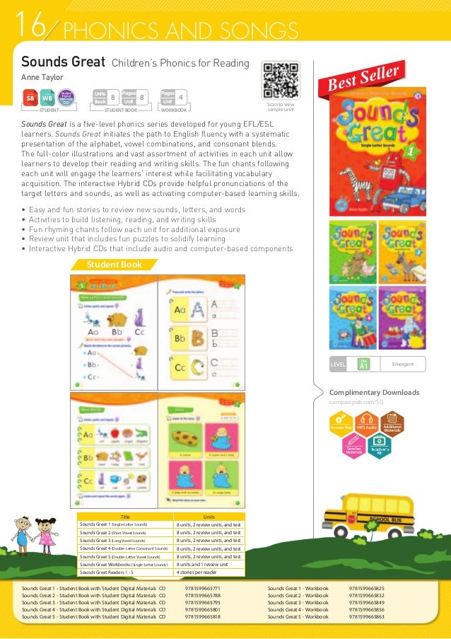 16 PHONICS AND SONGS Sounds Great Children's Phonics for Reading Anne Taylor Sounds Great is a five-level phonics series d...