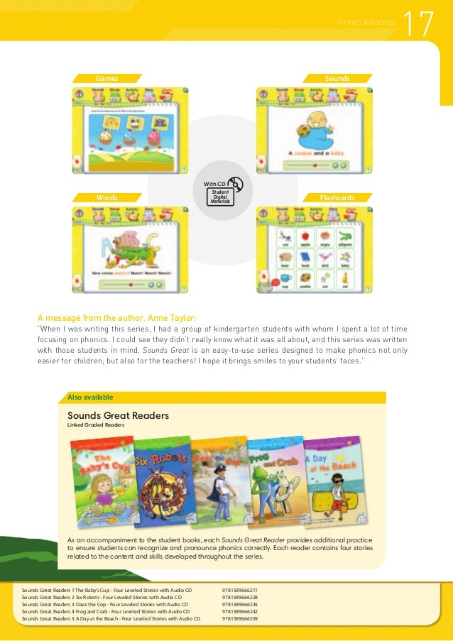 """17PHONICS AND SONGS A message from the author, Anne Taylor: """"When I was writing this series, I had a group of kindergarten..."""