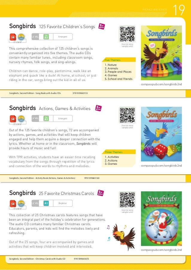 19PHONICS AND SONGS Songbirds, Second Edition - Christmas Carols with Audio CD 9781599665672 Songbirds 125 Favorite Child...