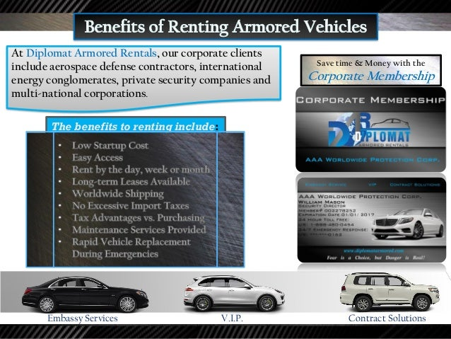 At Diplomat Armored Rentals, we specialize in providing transportation solutions and Diplomatic Security to Diplomats and ...