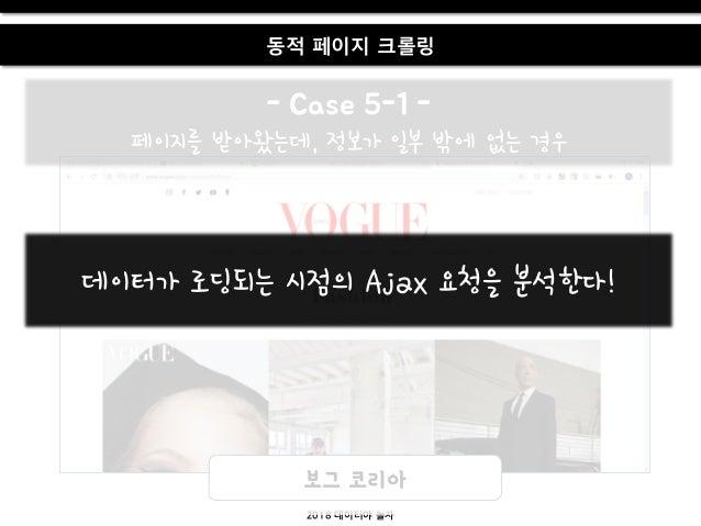 2018 데이터야 놀자 동적 페이지 크롤링 - Case 5-1 - 페이지를 받아왔는데, 정보가 일부 밖에 없는 경우 보그 코리아 데이터가 로딩되는 시점의 Ajax 요청을 붂석한다!