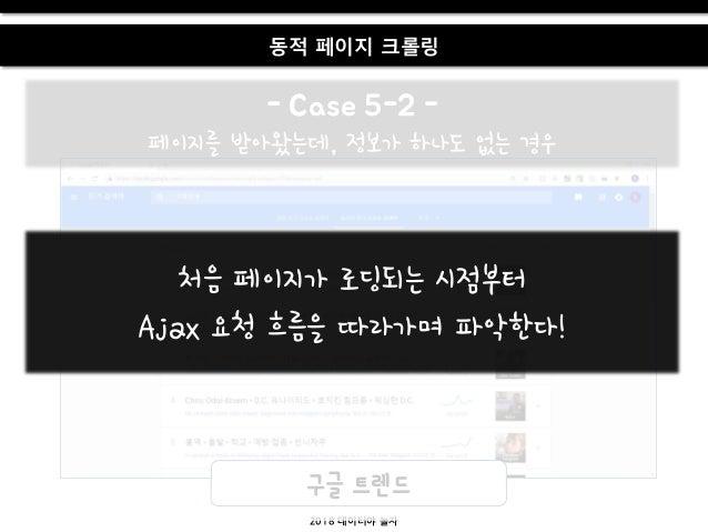 2018 데이터야 놀자 동적 페이지 크롤링 - Case 5-2 - 페이지를 받아왔는데, 정보가 하나도 없는 경우 구글 트렌드 처음 페이지가 로딩되는 시점부터 Ajax 요청 흐름을 따라가며 파악한다!
