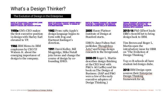3/10/2018 2018 Design In Tech Report http://jmmbp001.local:5757/?ckcachecontrol=1520689902#16 14/90 What's a Design Thinke...
